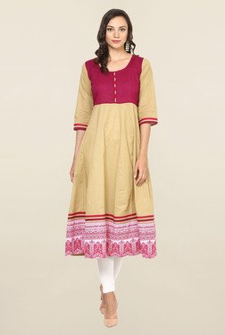 Aujjessa Beige & Purple Printed Cotton Anarkali Kurta