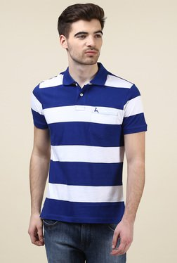 Parx Ink Blue & White Cotton Regular Fit Polo T-Shirt