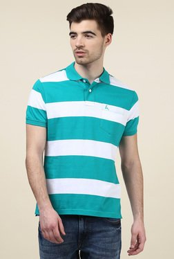 Parx Teal Green & White Cotton Regular Fit Polo T-Shirt