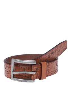 Jack & Jones Jacc Grafitti Tan Embossed Narrow Belt