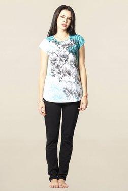Sweet Dreams Turquoise & Black Floral Print Pyjama Set