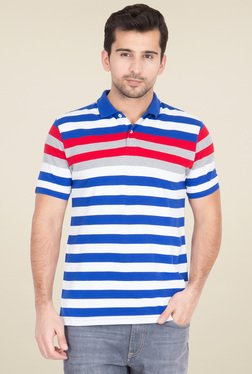 Red Tape Blue Half Sleeves Striped Polo T-Shirt