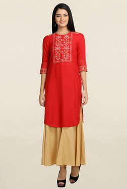 Aurelia Red Embroidered Kurti