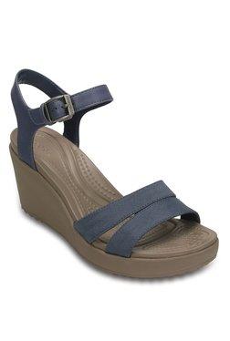 fa3a0a074aff0 Crocs Leigh ll Navy   Mushroom Ankle Strap Wedges