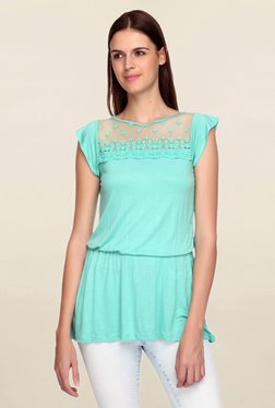 Mineral Green Lace Top