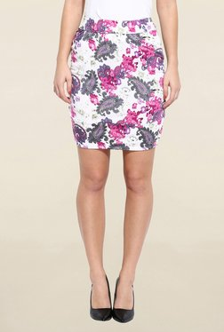 Campus Sutra White & Pink Printed Pencil Skirt
