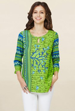 Global Desi Lime Printed Top