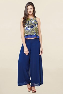 AND Yellow & Blue Geometric Print Crop Top