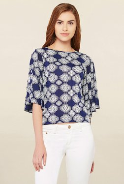 AND Navy & White Printed Top