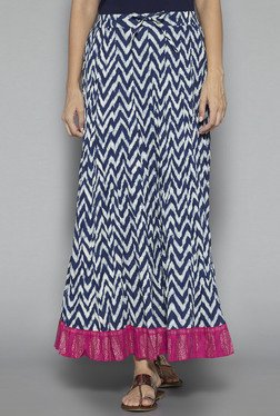 Utsa By Westside Indigo Pure Cotton Chevron Print Skirt