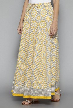 Utsa By Westside Yellow Pure Cotton Printed Skirt