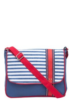 Pick Pocket Blue & White Striped Canvas Sling Bag