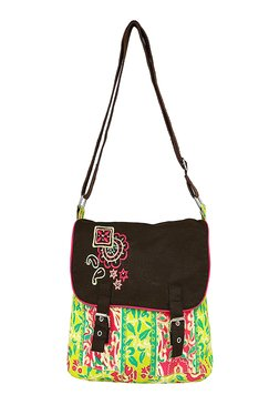 Pick Pocket Lime Green & Black Embroidered Canvas Sling Bag