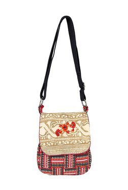 Pick Pocket Beige & Pink Printed Canvas Sling Bag