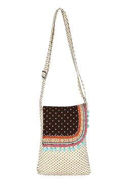 Pick Pocket Off-white Polka Dots Canvas Sling Bag