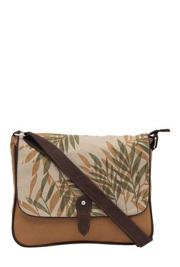 Pick Pocket Brown Printed Canvas Sling Bag