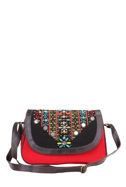 Pick Pocket Red & Black Embellished Canvas Sling Bag
