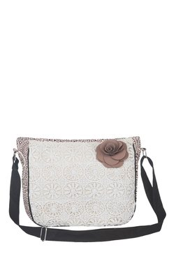 Pick Pocket Beige & Brown Lace Canvas Sling Bag