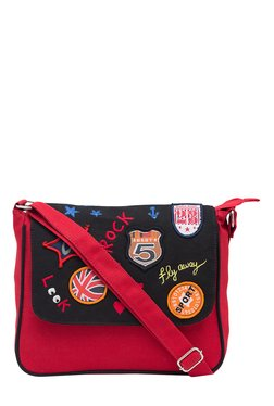 Pick Pocket Red & Black Embroidered Canvas Sling Bag