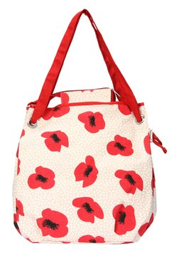Pick Pocket Off-White & Red Floral Print Shoulder Bag