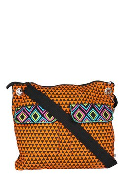 Pick Pocket Orange & Black Printed Canvas Sling Bag