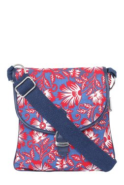 Pick Pocket Blue & Red Printed Canvas Sling Bag - Mp000000001433569