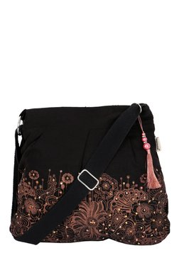 Pick Pocket Black & Brown Printed Canvas Sling Bag