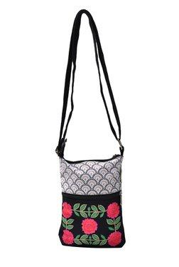 Pick Pocket Black & White Embroidered Canvas Sling Bag