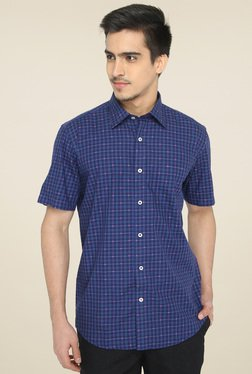 Jadeblue Ink Blue Half Sleeves Checks Shirt
