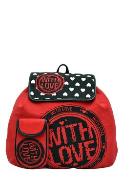 Pick Pocket Red & Black Printed Canvas Backpack