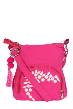Pick Pocket Fuchsia Embroidered Canvas Sling Bag