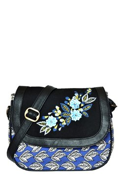 Pick Pocket Blue & Black Printed Canvas Sling Bag