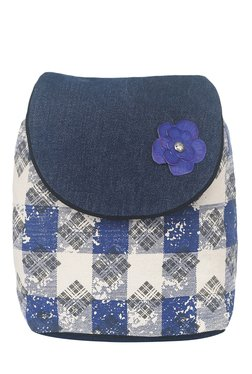 Pick Pocket Blue & White Plaid Canvas Backpack