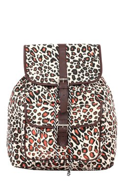 Pick Pocket Brown & Orange Printed Canvas Backpack
