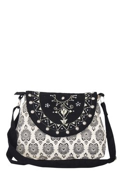 Pick Pocket Black & White Embroidered Canvas Sling Bag