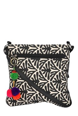 Pick Pocket Black & White Printed Tassel Sling Bag