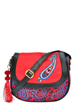 Pick Pocket Red & Blue Embroidered Tassel Sling Bag