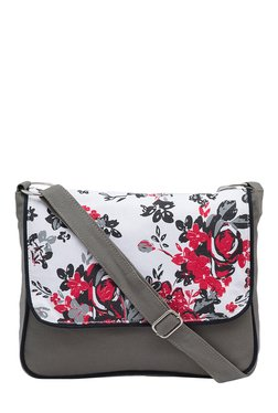 Pick Pocket Grey & White Printed Canvas Sling Bag