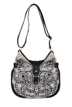 Pick Pocket Beige & Black Embroidered Canvas Sling Bag