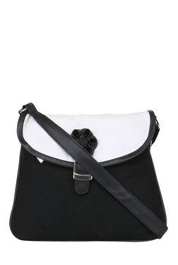 Pick Pocket Black & White Solid Canvas Sling Bag