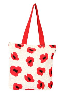 Pick Pocket Off-white & Red Printed Canvas Tote