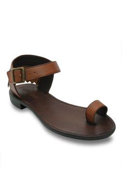 Salt 'n' Pepper Zed Almond Ankle Strap Toe Ring Sandals
