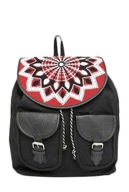 Pick Pocket Black & Red Embroidered Canvas Backpack