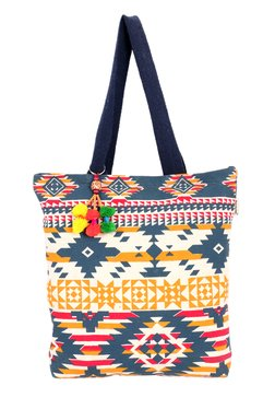 Pick Pocket Navy & Yellow Printed Canvas Tote