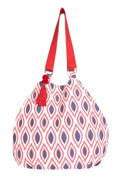 Pick Pocket Pink & Blue Printed Canvas Shoulder Bag