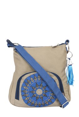 Pick Pocket Beige & Blue Printed Canvas Sling Bag