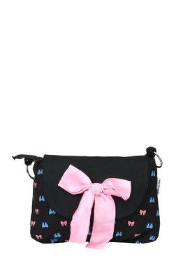 Pick Pocket Black Printed Canvas Sling Bag