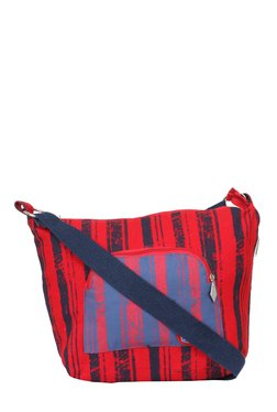 Pick Pocket Red & Navy Striped Canvas Sling Bag