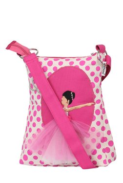 Pick Pocket Beige & Pink Polka Dots Canvas Sling Bag