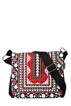 Pick Pocket Black & Red Embroidered Canvas Sling Bag